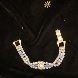 Rhinestone and art glass blue bracelet